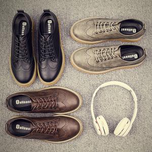 <span class=H>鞋子</span>男2018春季新款<span class=H>布洛克</span><span class=H>男鞋</span>学生韩版潮流板鞋男士英伦休闲皮鞋