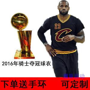 定制<span class=H>篮球</span>服套装骑士队詹姆斯2016年夺冠球衣冠军黑色短袖欧文2号