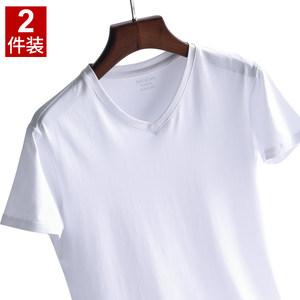 2件 男士短袖<span class=H>T恤</span>莫代尔棉V领修身夏季半袖青年<span class=H>男装</span>紧身体恤打底衫