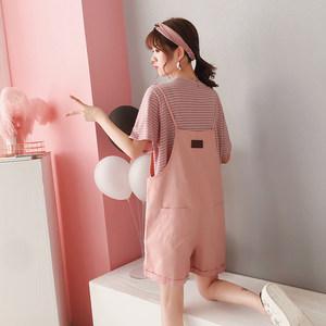 高腰小清新减龄背带短裤两件套女夏季2019新款韩版宽松网红套装潮