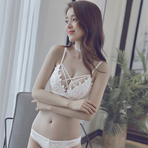 夏季无钢圈聚拢上托<span class=H>内衣</span>女套装薄款收副乳调整型胸罩性感白色文胸