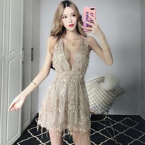 夜店女装2018新款亮片大露背性感深V领低胸修身收腰吊带连衣裙子