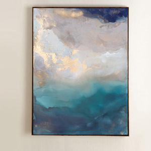 手绘现代美式抽象<span class=H>油画</span>装饰画客厅玄关金箔画竖版挂画风云