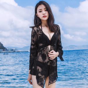 实拍蕾丝绣花开衫泳衣女款外搭比基尼罩衫防晒<span class=H>外套</span>巴厘岛海边度假