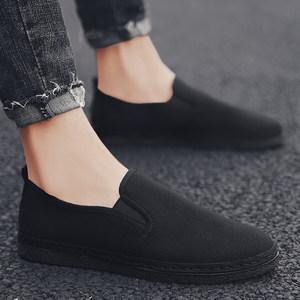 夏季帆布鞋<span class=H>男鞋</span>透气防臭<span class=H>老北京布鞋</span>男软底纯黑一脚蹬懒人休闲板鞋