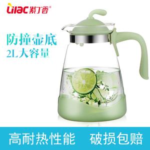 紫丁香耐热<span class=H>冷水壶</span>玻璃果汁壶大容量茶壶凉白开水壶家用凉水壶套装
