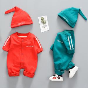 新生儿连体衣春秋夏装婴儿0-12个月可爱<span class=H>宝宝</span>满月短袖衣服男外出服