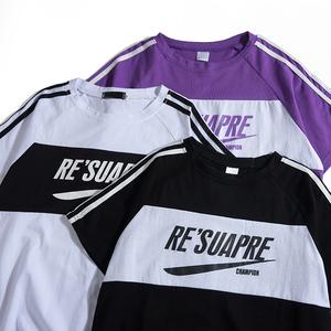 夏季2020新款日系t恤短袖男潮牌ins潮流纯棉宽松半袖五分袖上衣服