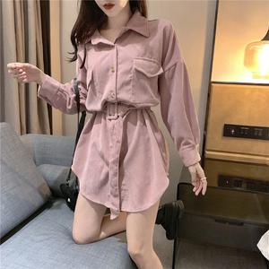 韩版春季女装新款chic小香风气质时尚百搭中长款系带收腰长袖衬衫