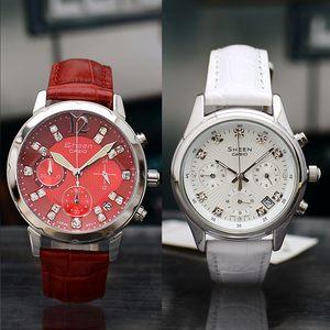 正品卡西欧<span class=H>手表</span>女表石英表防水真皮皮带镶钻女士夜光白色腕表学生