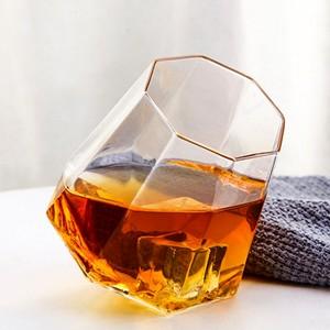欧式创意款不倒翁无铅<span class=H>水晶</span>玻璃八角<span class=H>钻石杯</span>家用啤酒杯子威士忌酒杯