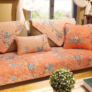 美式喜庆乡村田园花卉系布艺沙发垫春夏全棉防滑沙发巾居家坐垫套