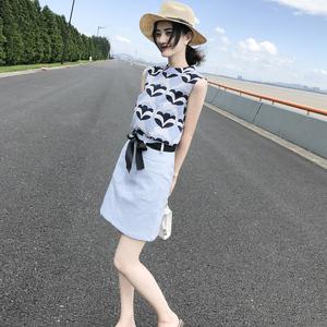 2019夏装新款韩版<span class=H>女装</span>印花雪纺连衣裙无袖短裙气质套装裙两件套潮