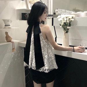 春夏女装新款小立领无袖性感露肩蕾丝衫潮chic飘带蝴蝶结燕尾上衣
