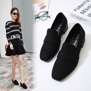 2019春款新款<span class=H>女鞋</span>黑色职业工作鞋中跟粗跟温柔仙女低跟晚晚女单鞋