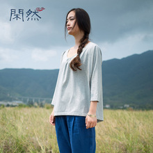 Second Kill Doesn't Support Return of Long Sleeve Literary Blouse, Cotton Round-collar Bat Shirt, Pure and Loose T-shirt