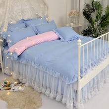 Princess Wind Girl Heart Quilt Sweet White Yarn Lace Pure Color Single Quilt Set 180x220cm Bedding