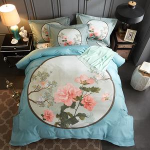 新中式全棉四件套床单被套1.5米纯棉1.8m双人床上用品2.0<span class=H>床品</span><span class=H>套件</span>