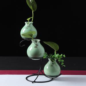 龙泉青瓷现代花器简约<span class=H>家居</span>客厅装饰摆件工艺品小清新创意陶瓷花瓶