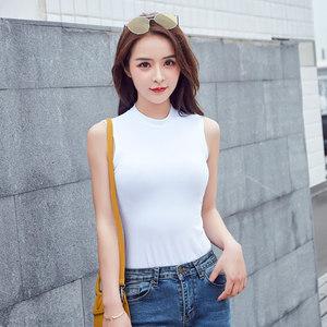 夏季新款半高领无袖<span class=H>背心</span>女白色外穿紧身上衣韩范学生内搭打底衫女