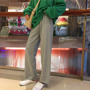 韩版宽松百搭抽绳休闲裤女高腰显瘦阔腿裤子灰色<span class=H>运动裤</span>直筒裤长裤