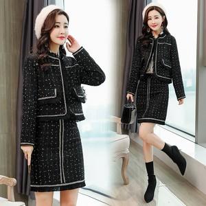 2018新款韩版小香风毛呢上衣<span class=H>短裙</span>套装女粗花呢料波点一步裙两件套