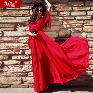 2018女新款夏装到脚踝雪纺超长款大摆红色沙滩裙子超仙<span class=H>长裙</span>连衣裙