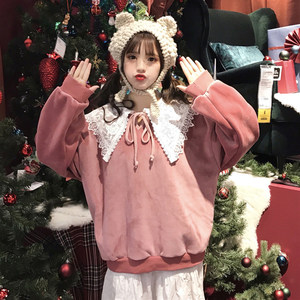 秋装2018新款韩版学生少女拼接蕾丝娃娃领系带加绒长袖套头<span class=H>卫衣</span>萌