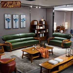 巴吉洛实木真皮客厅<span class=H>家具</span>简约现代新中式北欧123乌金木沙发组合