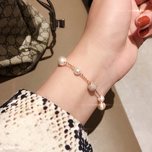 New fashion crystal pearl invisible magnetic button Bracelet temperament Crystal Pearl Rose Gold jewelry lady