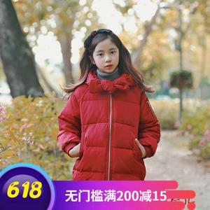 韩国代购2018冬女童亲子红色棉衣中大童蝴蝶结淑女羽绒棉服厚外套