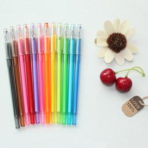 韩国文具 创意学生清新炫彩钻石中性笔 彩色水笔针管笔0.5mm12色