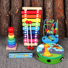 Babies and infants 8 months old, playing the piano and octave, playing the xylophone, playing musical instruments and toys for children aged 1-2-3