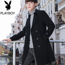 Playboy Men's Windwear 2018 New Outerwear Autumn Men's Leisure Medium Long Wool Wool Overcoat Tide