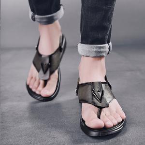 潮<span class=H>男鞋</span>子潮鞋百搭韩版凉鞋潮男士沙滩鞋人字两用拖鞋夏季休闲防滑