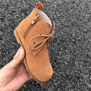 儿<span class=H>童鞋</span>磨砂皮靴子女童百搭翻毛皮及踝靴短靴男童马丁靴加火热畅销
