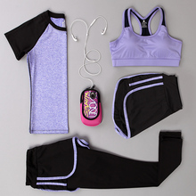 Summer 2009 Yoga Five-piece Sports Suit Women's Running Suit, Short Pants, vest and Underwear Women's Style