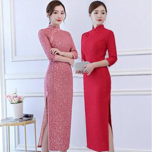 长款<span class=H>旗袍</span>2018新款高档秋季修身显瘦蕾丝少女日常连衣裙改良中国风