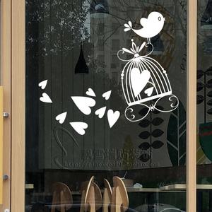 玻璃墙贴纸画卧室壁温馨装饰客厅背景小花鸟<span class=H>宠物</span>市场笼子动物1408