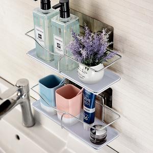 卫生间<span class=H>用品</span>置物架吸壁式免打孔浴室洗漱台不锈钢壁挂卫浴墙上架子