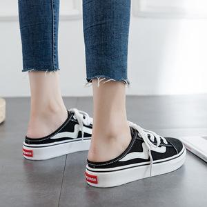 无后跟帆布鞋女半托2019夏季新款ins小白鞋女百搭韩版学生休闲鞋