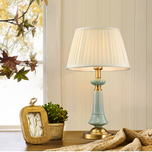 美式田园简约全<span class=H>铜台灯</span>欧式复古装饰卧室床头灯具客厅别墅陶瓷台灯