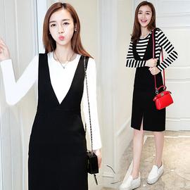 2018秋韩版新V领连衣裙背带裙开叉中长裙子包臀裙T恤两件套装女