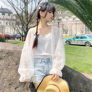春季小衫2019新款时尚宽松日系甜美蕾丝衫防晒衣长袖<span class=H>开衫</span>外套女