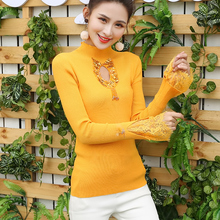 Autumn and Winter Clothing Reverse Autumn and Winter Heavy Work Nail Bead Slimming Sweater Women's Half-high Necklace Hollow-out Knitting Shirt