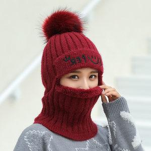 冬季帽子女围脖一体连体帽韩版潮骑车防风针织毛线帽加厚<span class=H>包头</span>护耳