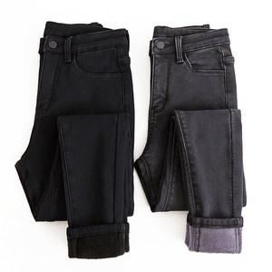 黑色加厚加绒<span class=H>牛仔裤</span>女2018秋冬新款韩版显瘦高腰九分小脚铅笔长裤