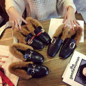 <span class=H>时尚</span>秋冬季2017韩版平底兔毛豆豆鞋女加绒毛毛鞋平跟单鞋保暖瓢鞋