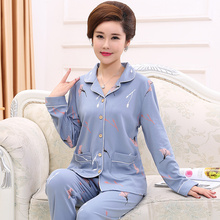 Mid-aged and middle-aged mothers'pajamas and women's autumn cotton long-sleeved all-cotton thin spring, autumn and summer large-size household suits
