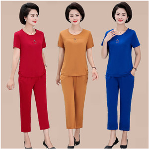 妈妈夏装套装<span class=H>女装</span>新款中老年女夏季短袖中老年两件套T恤洋气高贵